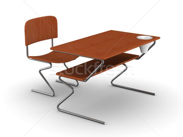 Photo stock: école · bureau · président · isolé · 3D · image