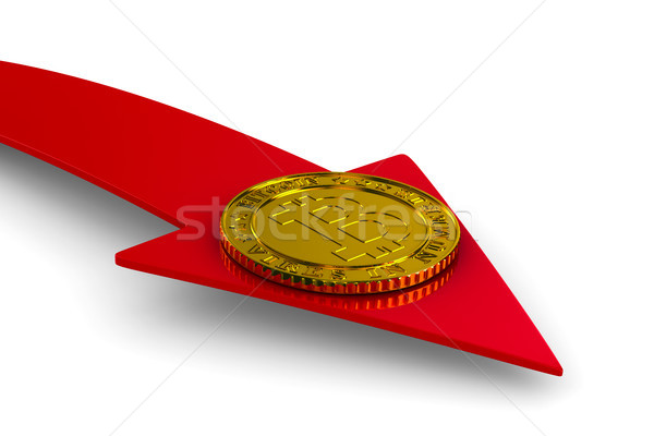 coin bitcoin and arrow on white background. Isolated 3D illustra Stock photo © ISerg