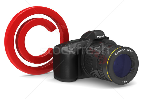 Stock photo: digital camera on white background. Copyright photo. Isolated 3D