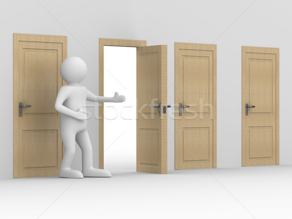 man invites to pass open door. 3D image Stock photo © ISerg