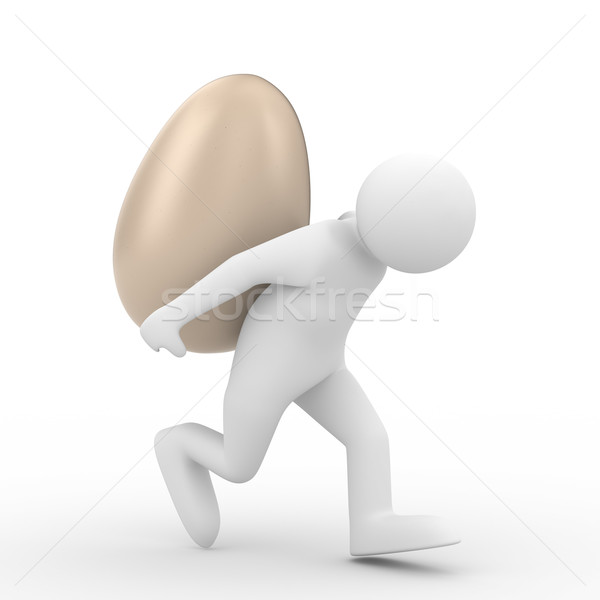 men carry  egg on back. Isolated 3D image Stock photo © ISerg