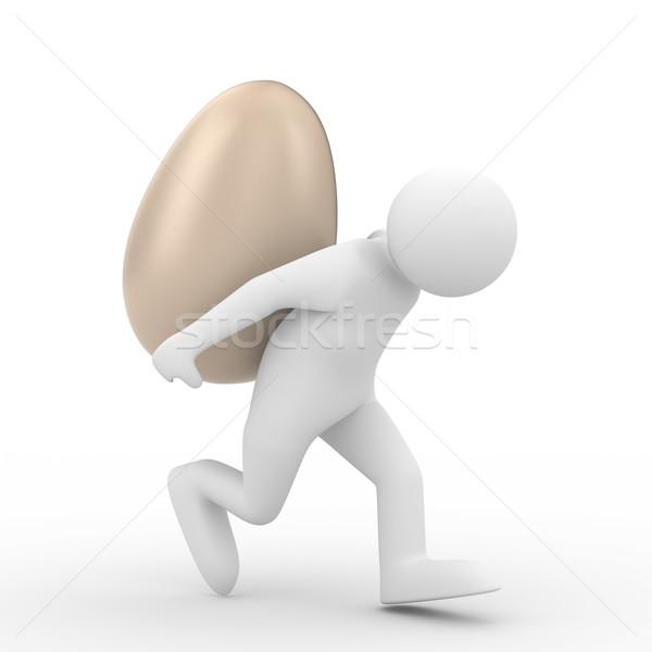 Férfiak szállít tojás hát izolált 3D Stock fotó © ISerg