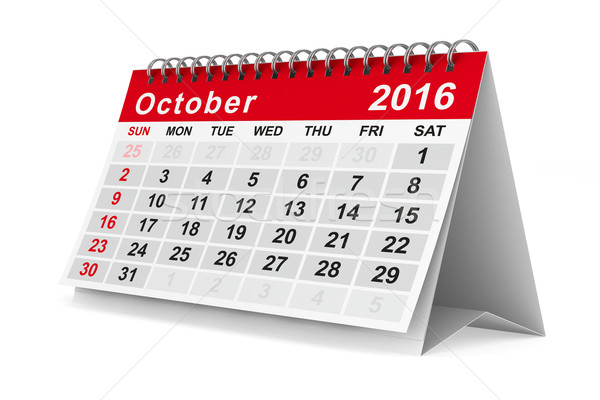 Stock photo: 2016 year calendar. October. Isolated 3D image