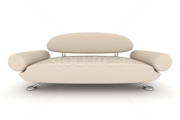Stock photo: Isolated leather sofa. An interior. 3D image.