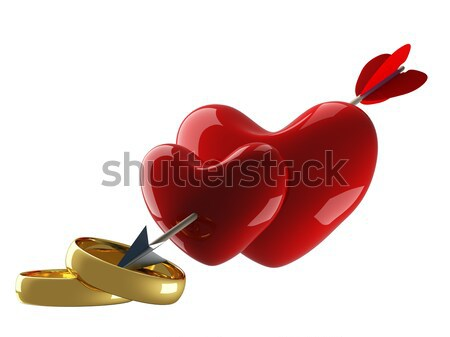 Two hearts pierced by an arrow. 3D image. Stock photo © ISerg