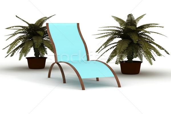 Ligstoel witte 3D afbeelding zwembad reizen Stockfoto © ISerg