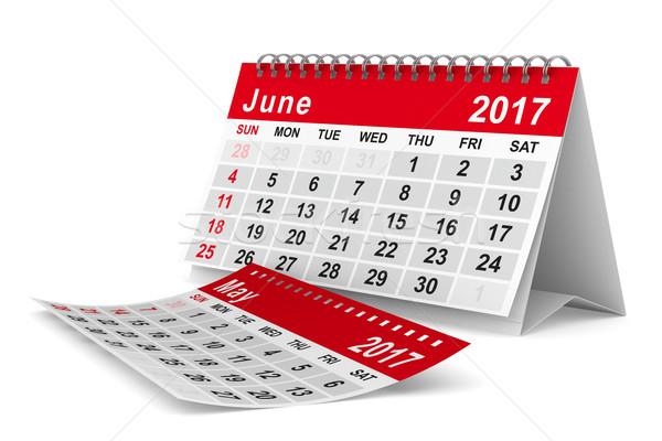2017 year calendar. June. Isolated 3D image Stock photo © ISerg