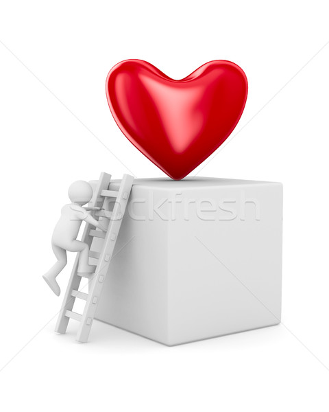 man and heart. Isolated 3D image Stock photo © ISerg