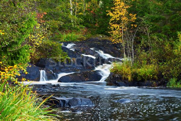 ストックフォト: 山 · 滝 · 高速 · ストリーム · 水 · 秋
