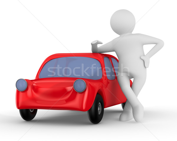Red car and man. Isolated 3D image Stock photo © ISerg