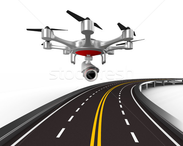 aerial of road on white background. Isolated 3D illustration Stock photo © ISerg