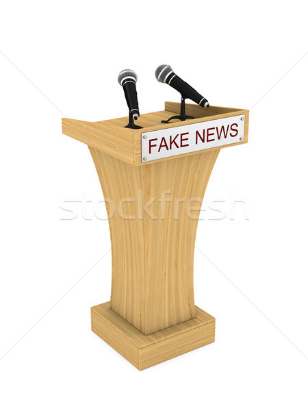 Fake news. Tribune with microphone on white background. Isolated Stock photo © ISerg