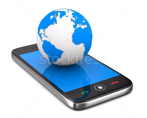 phone and globe on white background. Isolated 3D image Stock photo © ISerg