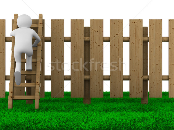 man climbs on ladder through fence. Isolated 3D image Stock photo © ISerg