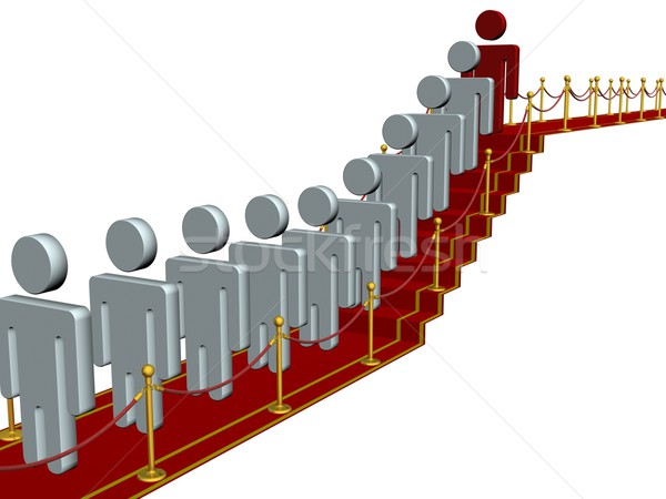People standing on a red carpet path. 3D image. Stock photo © ISerg