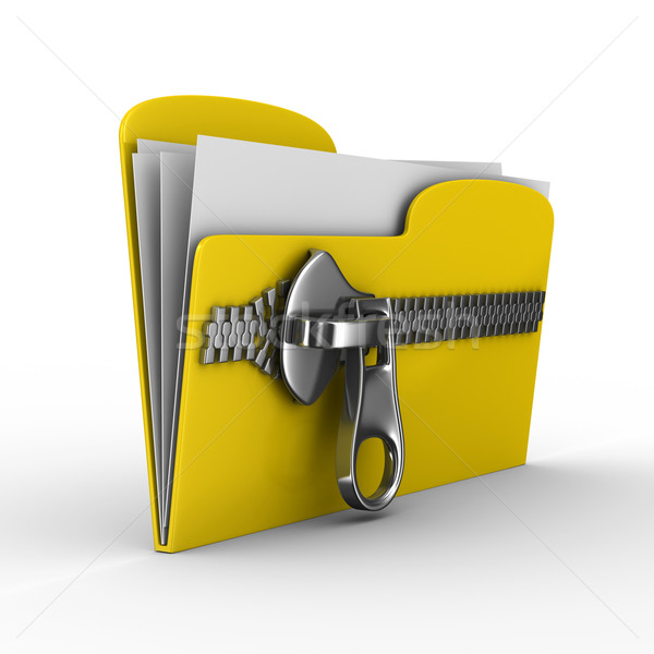 Stock photo: Yellow computer folder with zipper. Isolated 3d image