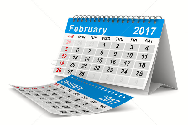2017 year calendar. February. Isolated 3D image Stock photo © ISerg