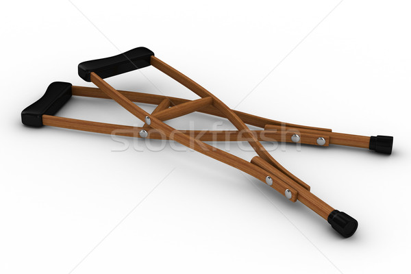 Crutches on white background. Isolated 3D image Stock photo © ISerg