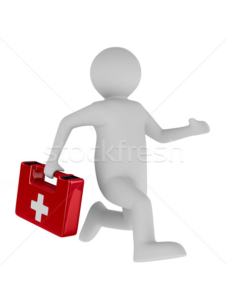 doctor runs to aid. Isolated 3D image Stock photo © ISerg