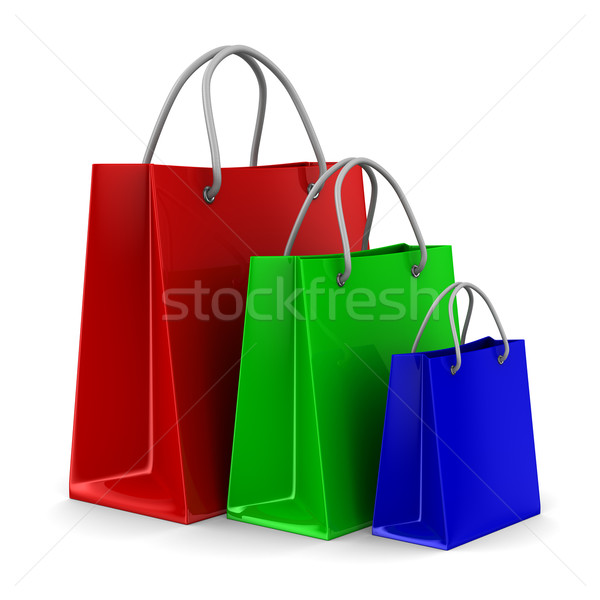 Three shoping bags on white. Isolated 3D image Stock photo © ISerg