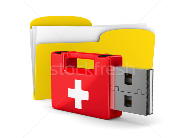 Stock photo: rescue usb flash drive and folder on white background. Isolated
