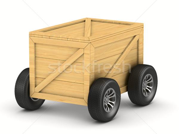 Vracht vak wiel witte geïsoleerd 3D Stockfoto © ISerg