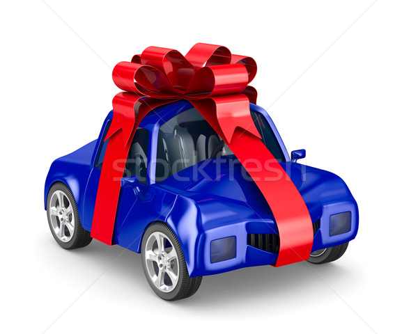 car in gift packing. Isolated 3D image Stock photo © ISerg