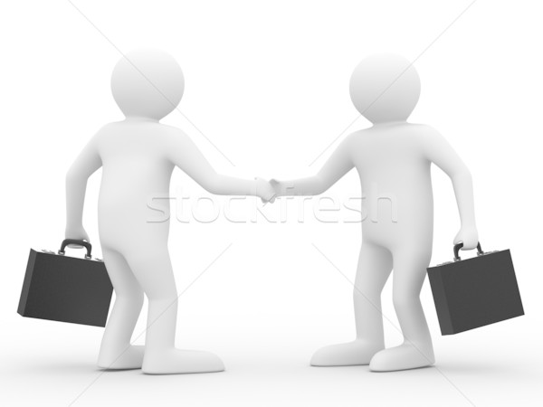 Handshake. Meeting two businessmen. Isolated 3D image Stock photo © ISerg