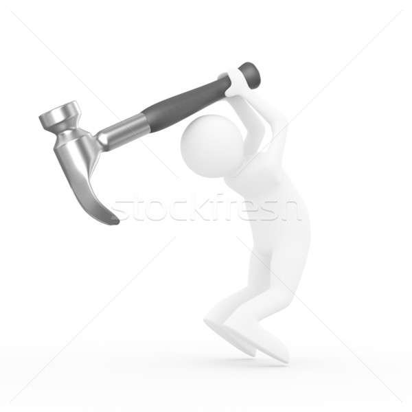 Man swings arm hammer on white background. Isolated 3D image Stock photo © ISerg