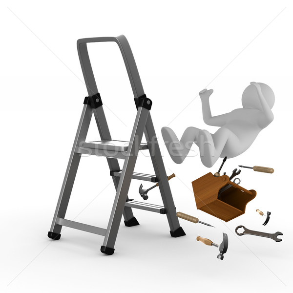 man falls from ladder on white background. Isolated 3D image Stock photo © ISerg