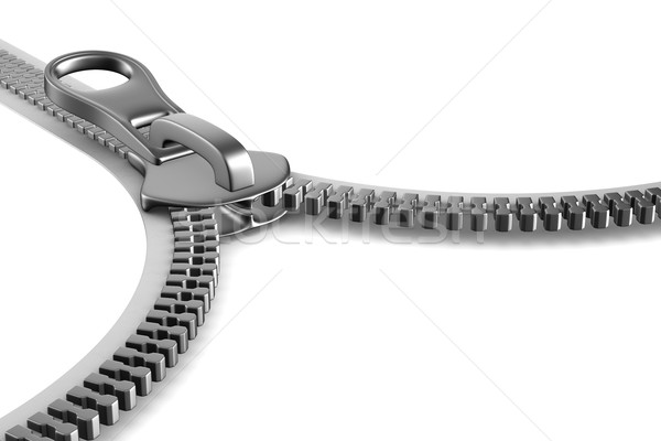 Stock photo: Zipper on white background. Isolated 3D image