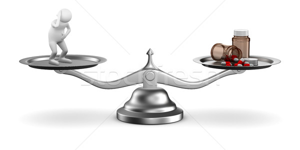 Medicines and patient on scales. Isolated 3D image Stock photo © ISerg