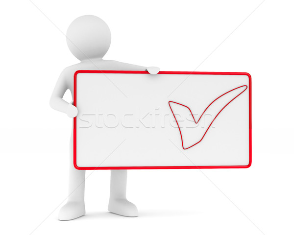 billboard with checkmark on white background. Isolated 3D image Stock photo © ISerg