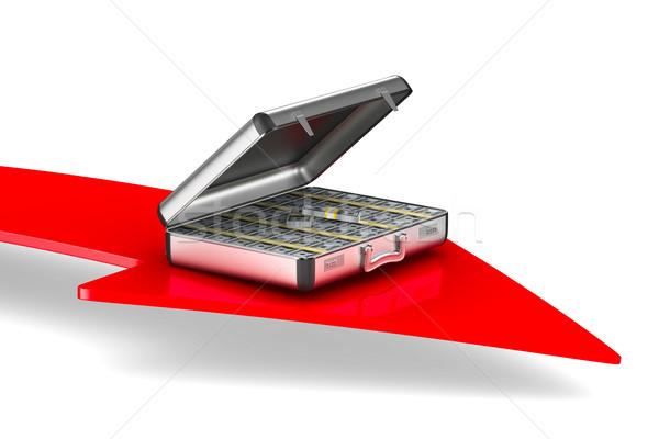 Caso soldi bianco isolato illustrazione 3d rosso Foto d'archivio © ISerg