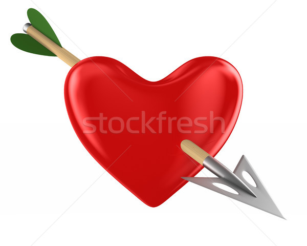 heart and arrow on white background. Isolated 3D illustration Stock photo © ISerg