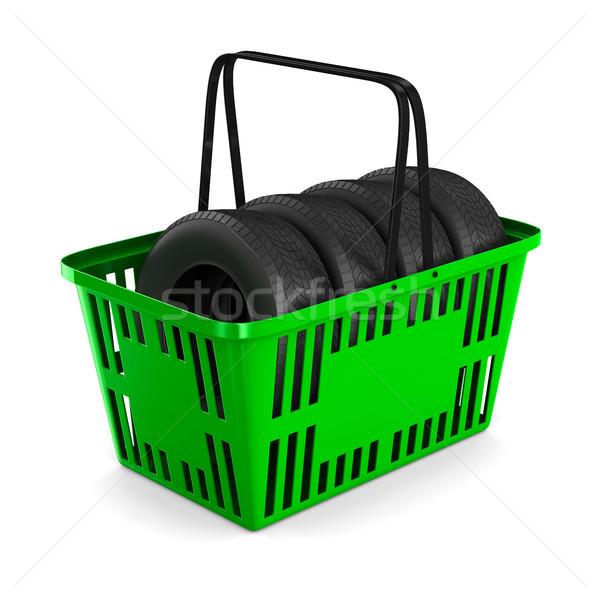tire in basket shopping on white background. Isolated 3D illustr Stock photo © ISerg