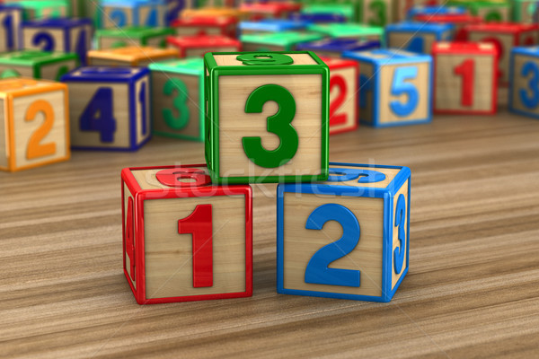 block with number on wooden surface. 3D illustration Stock photo © ISerg