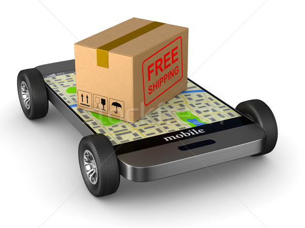 free shipping cargo box and phone with wheel on white background Stock photo © ISerg
