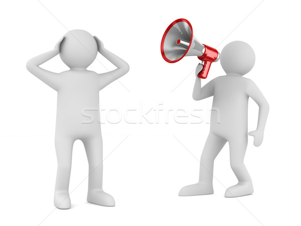 orator speaks in megaphone. Isolated 3D image Stock photo © ISerg