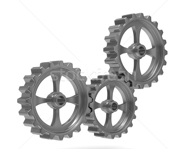 Three gears on white background. Isolated 3D image Stock photo © ISerg