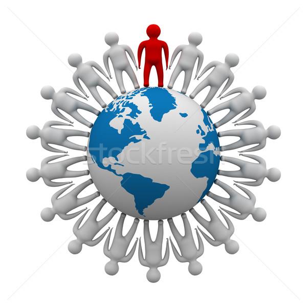 ストックフォト: グループの人々 · 立って · 世界中 · 3D · 画像 · インターネット