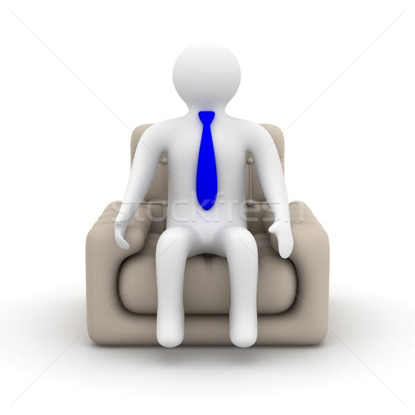 Foto stock: Empresário · sessão · poltrona · isolado · 3D · imagem