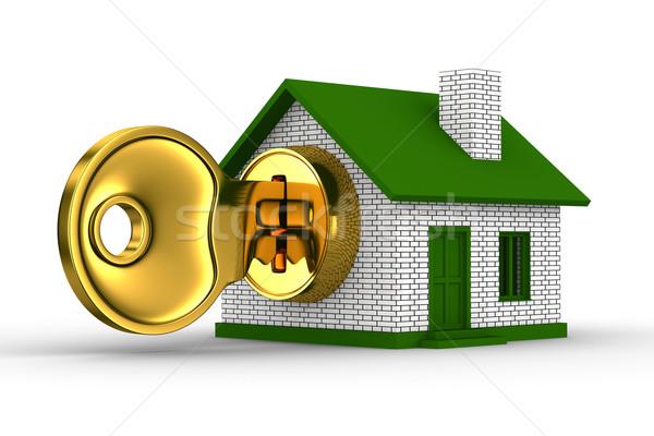 key and house on white background. 3D image Stock photo © ISerg