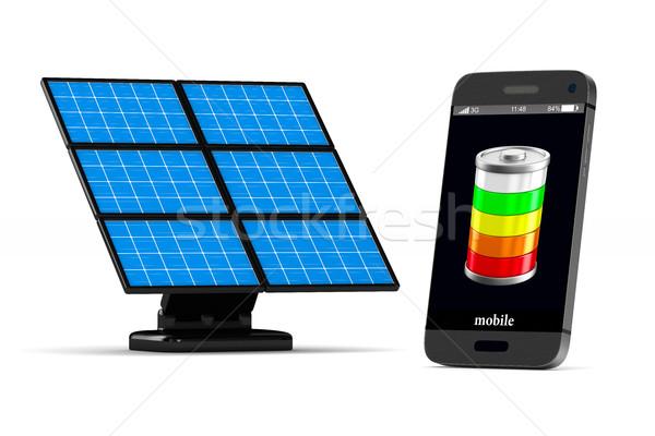 Telefone branco isolado 3D imagem sol Foto stock © ISerg