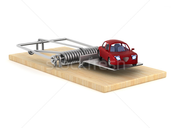 mousetrap and car on white background. Isolated 3D illustration Stock photo © ISerg