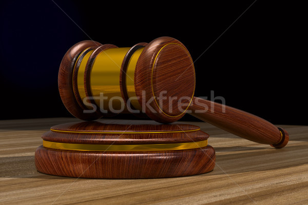 Stock photo: wooden gavel on table. 3D illustration