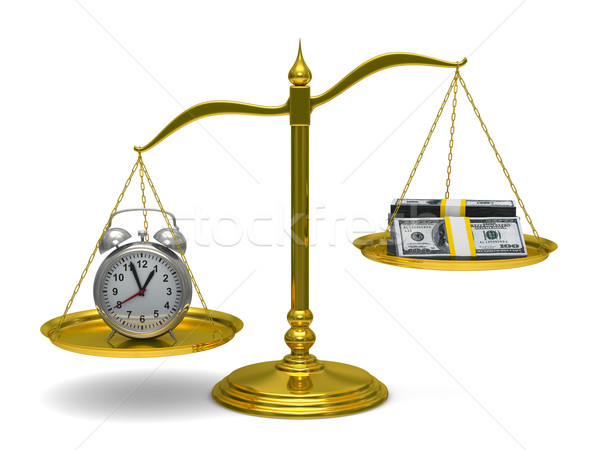 Il tempo è denaro isolato 3D immagine soldi clock Foto d'archivio © ISerg