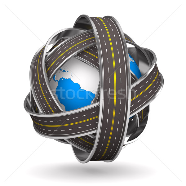 道路 世界中 白 孤立した 3D 画像 ストックフォト © ISerg