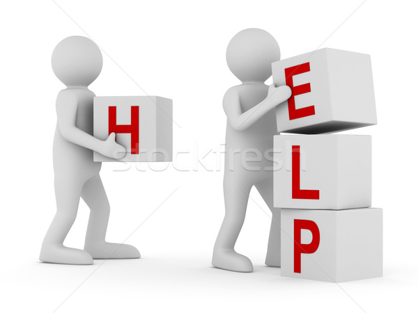Stock photo: Conceptual image teamwork on white. Isolated 3D image