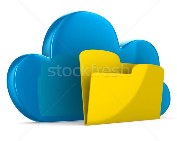 Cloud and folder on white background. Isolated 3D image Stock photo © ISerg